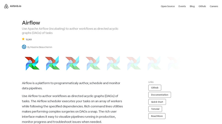 Apache Airflow by Airbnb.io Landing Page