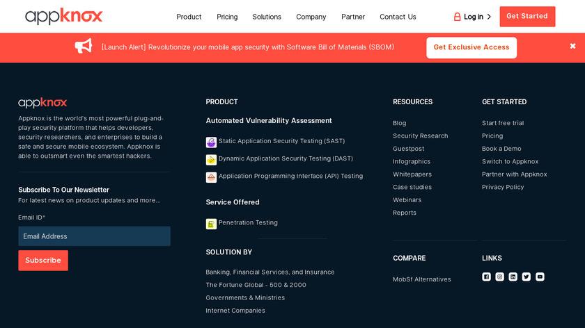 Appknox Landing Page