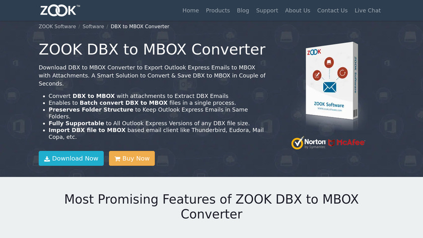 ZOOK DBX to MBOX Converter Landing Page