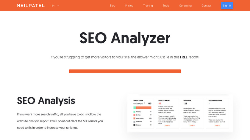 SEO Analyzer By Neil Patel Landing Page