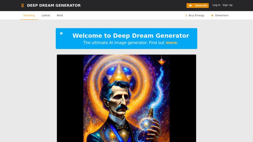 Deep Dream Generator Landing Page