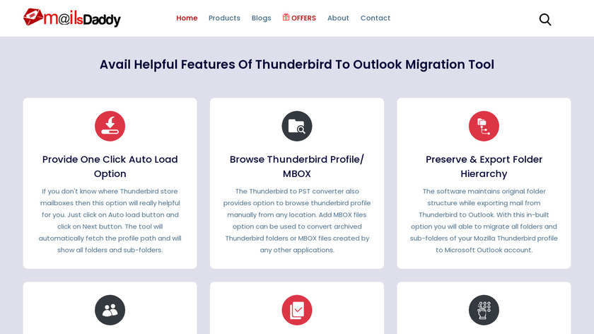 MailsDaddy Thunderbird to Outlook Converter Landing Page