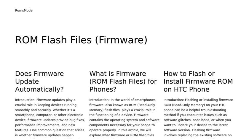 RomsMode Landing Page