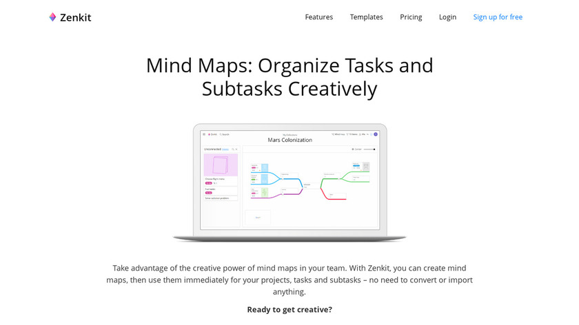 Mind Maps for Zenkit Landing Page