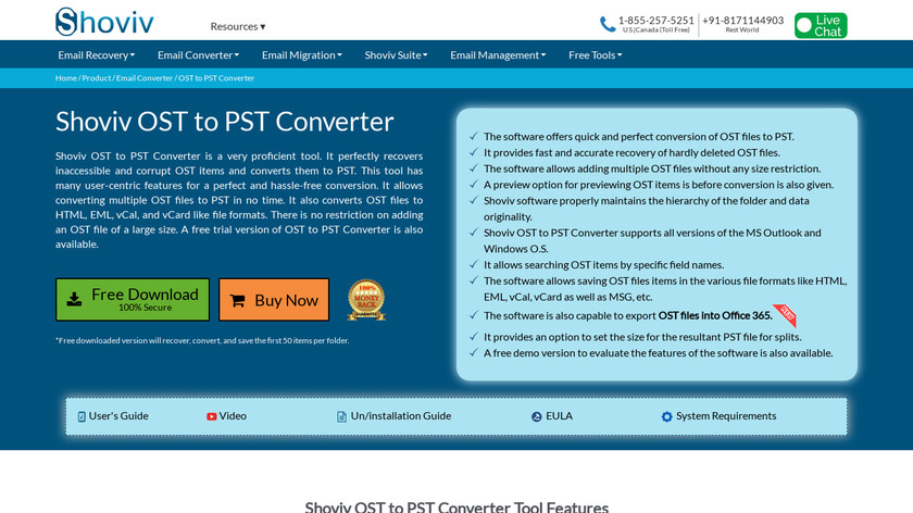Shoviv OST to PST converter Landing Page
