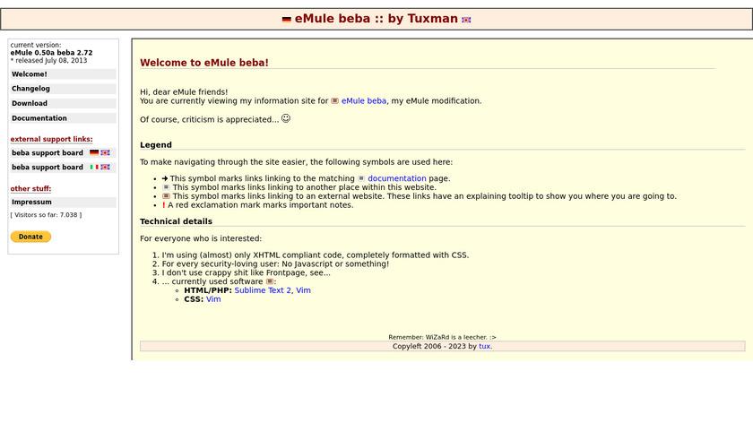 Emule Beba Landing Page