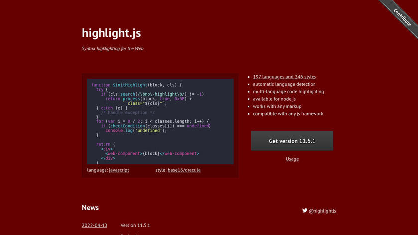 highlight.js Landing Page