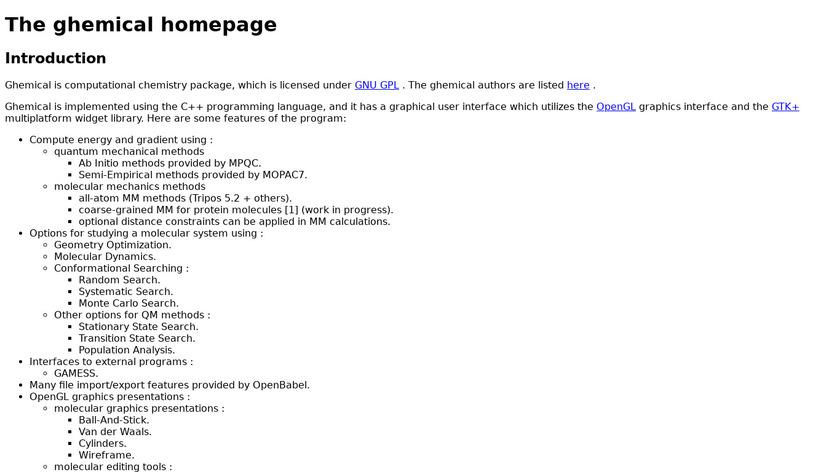 Ghemical Landing Page