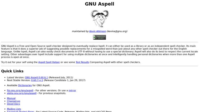 GNU Aspell Landing Page