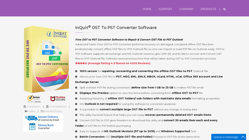 InQuit OST to PST Converter Landing Page