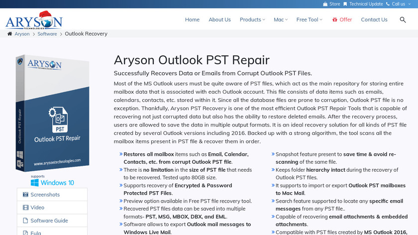 Aryson Outlook PST Repair Landing Page