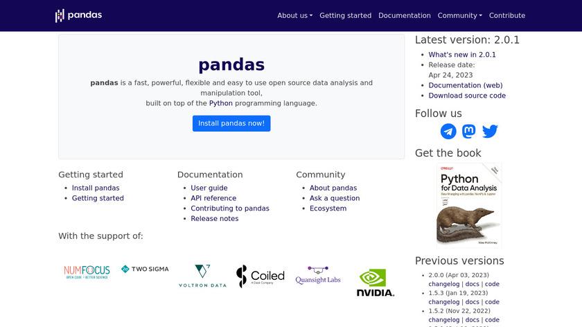 Pandas Landing Page