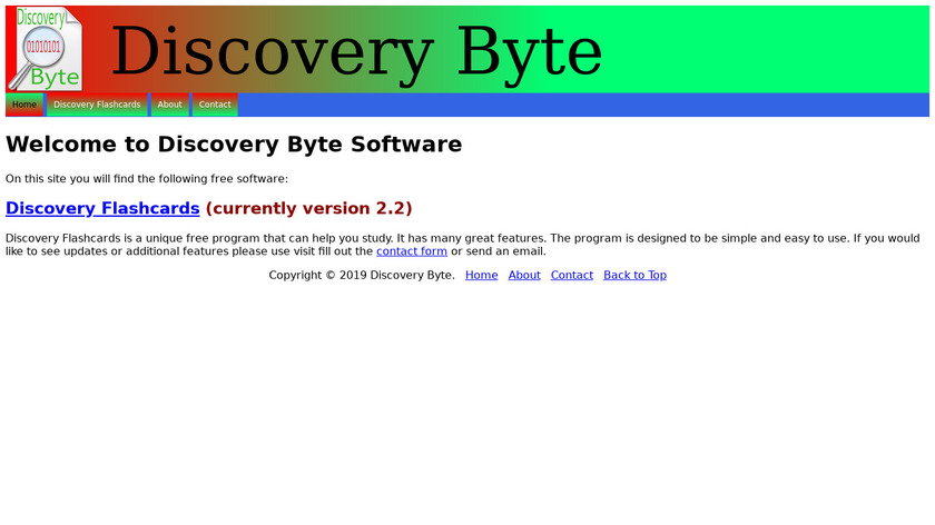 Discovery FlashCards Landing Page