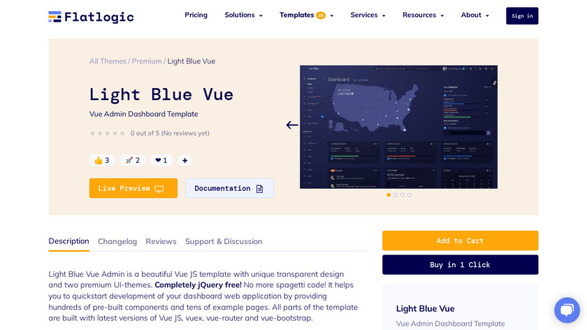 Flatlogic Light Blue Vue Landing Page