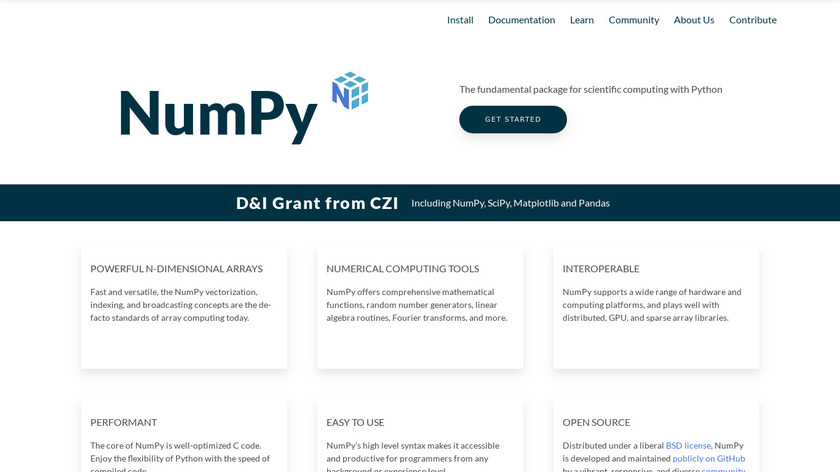 NumPy Landing Page