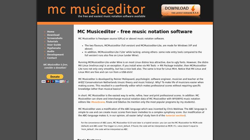 MC Musiceditor Landing Page
