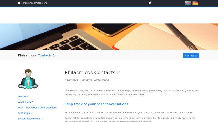 Philasmicos Contacts 2 Landing Page