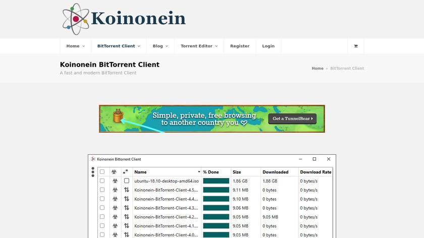 Koinonein BitTorrent Client Landing Page