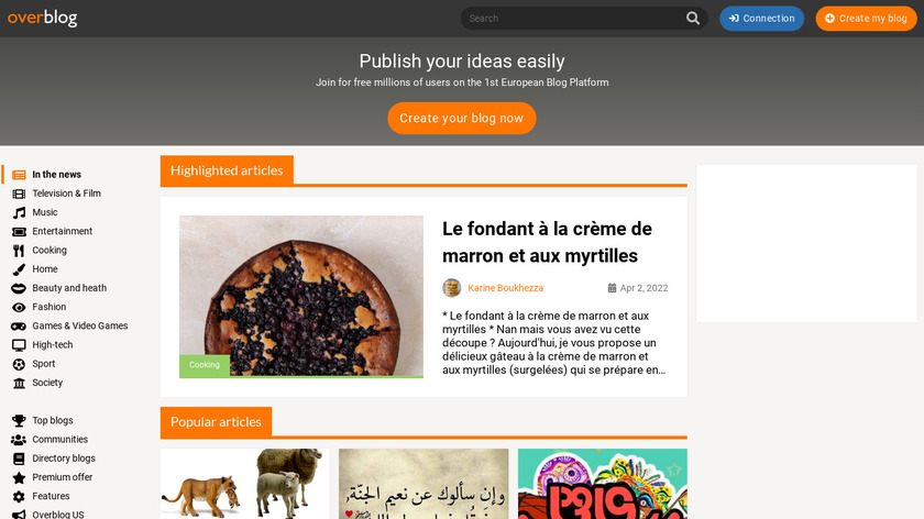 OverBlog Landing Page