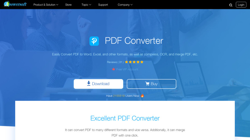 Apowersoft PDF Converter Landing Page
