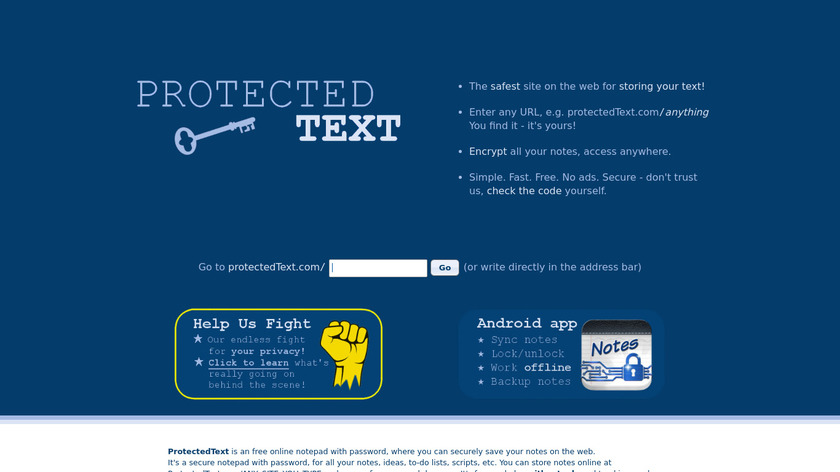 Protectedtext Landing Page