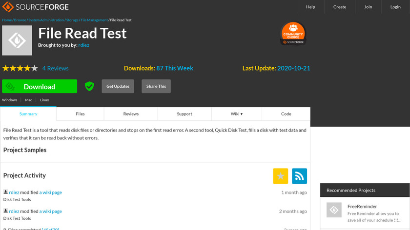 Quick Disk Test Landing Page