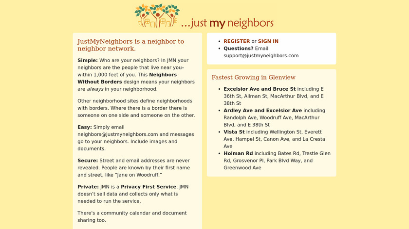 JustMyNeighbors Landing Page