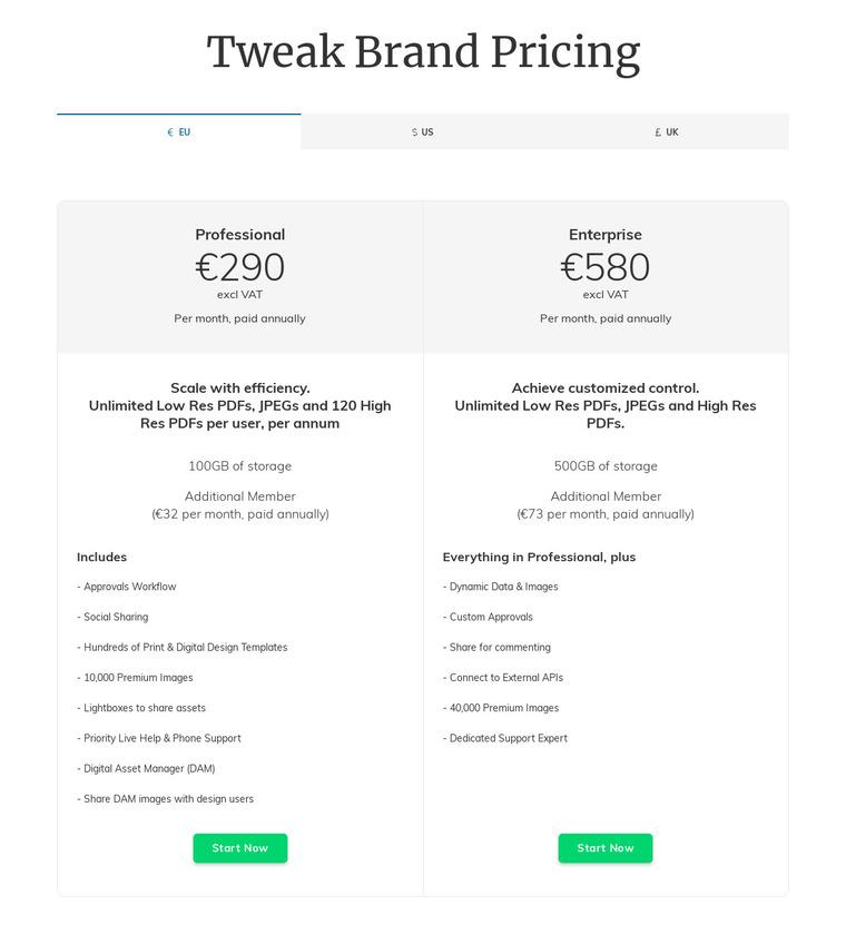 Tweak.com Pricing