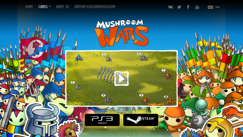 Mushroom Wars Landing Page
