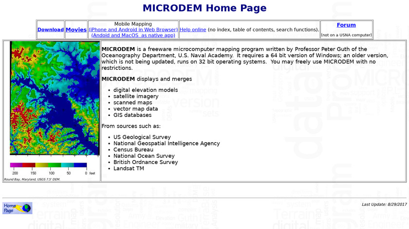 MICRODEM Landing Page