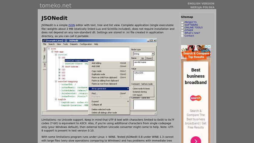 JSONedit Landing Page