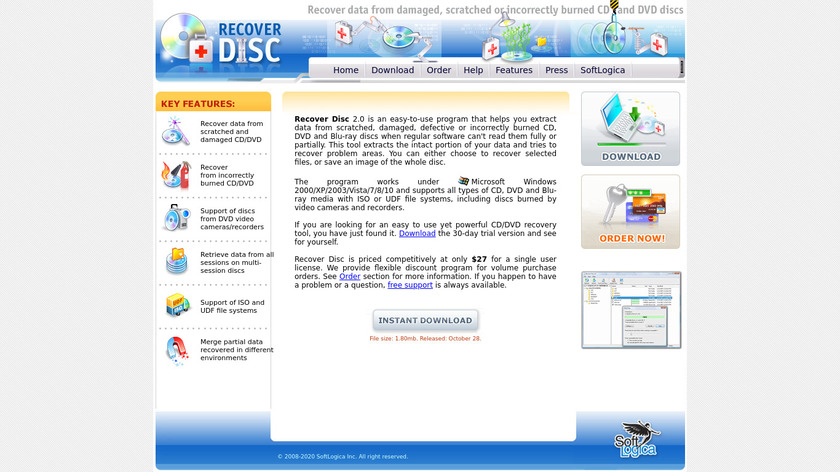 Recover Disc Landing Page