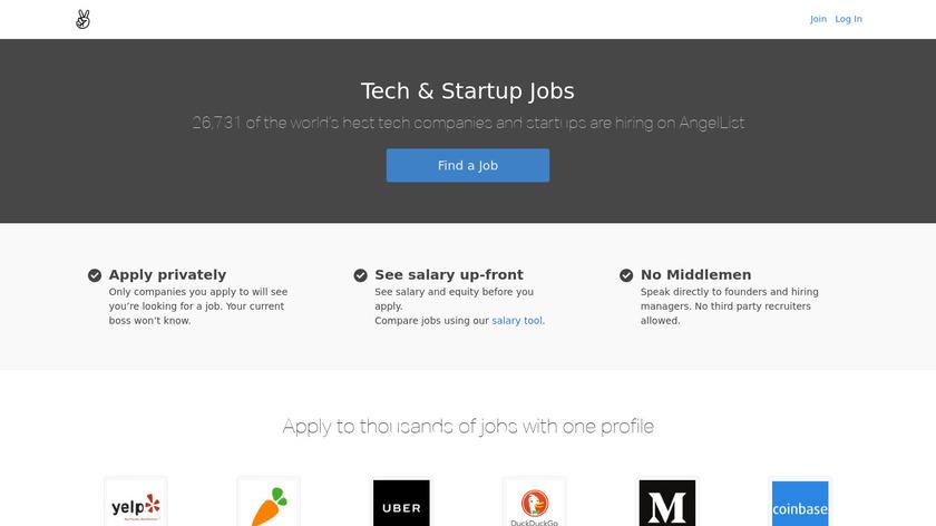 AngelList Jobs Landing Page