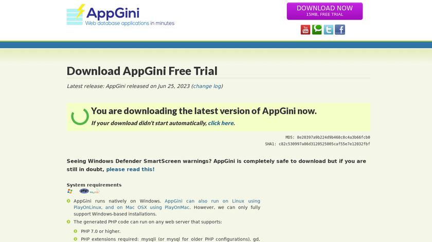 AppGini Landing Page