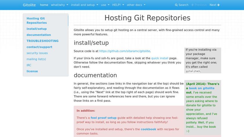 Gitolite Landing Page