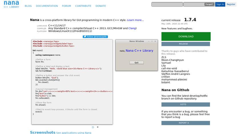 Nana C Library Landing Page