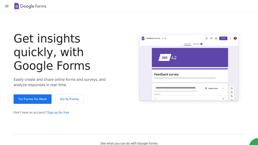 Google Drive - Forms Landing Page