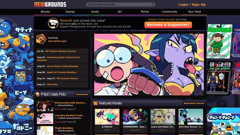 Newgrounds Landing Page