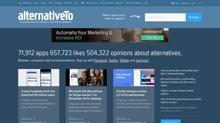 AlternativeTo Landing Page
