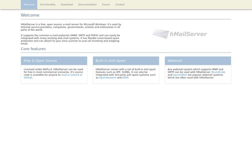 hMail Server Landing Page