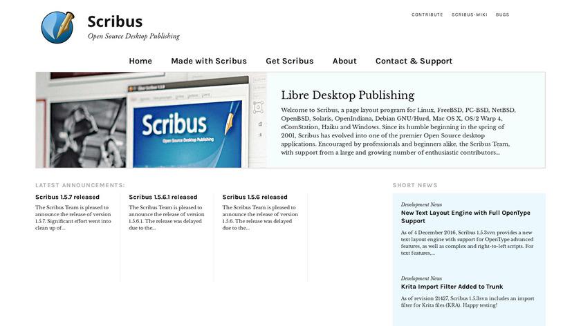 Scribus Landing Page