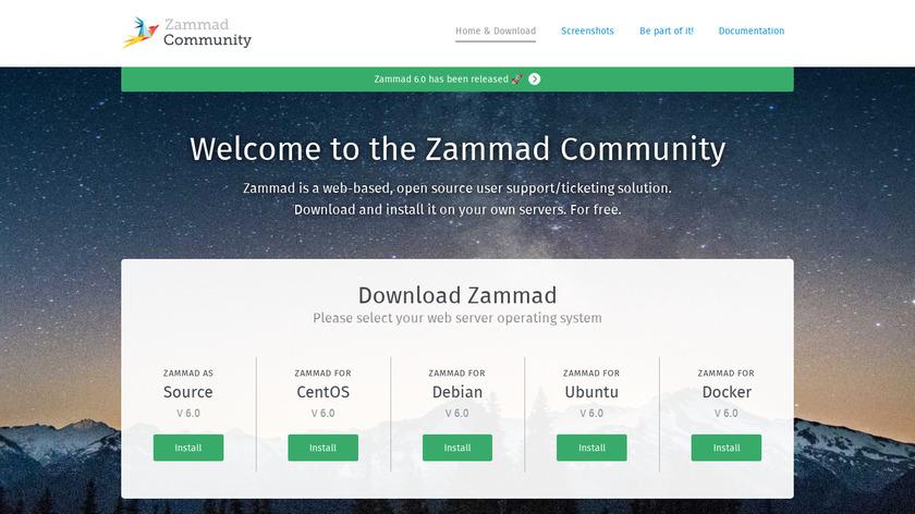 Zammad Landing Page