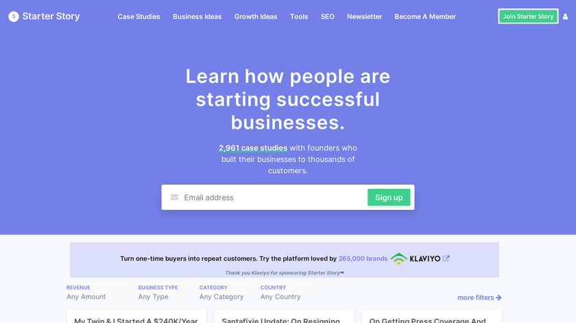 Starter Story Landing Page