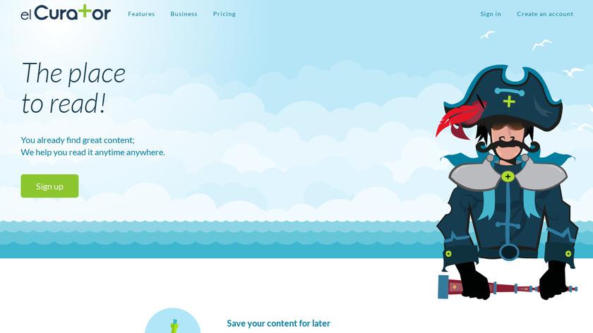 elCurator Landing Page