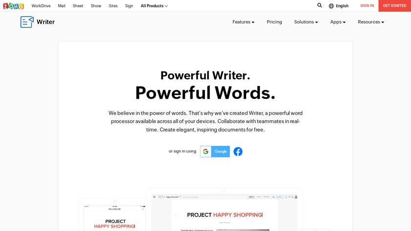 Zoho Writer Landing Page