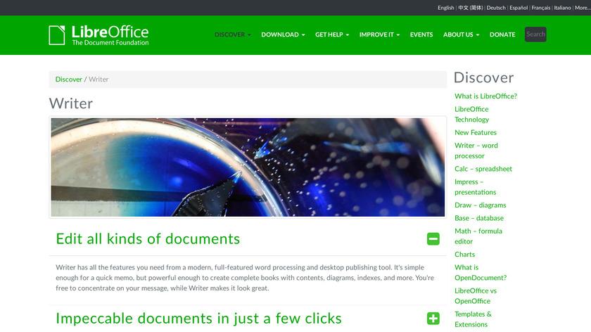 LibreOffice - Writer Landing Page
