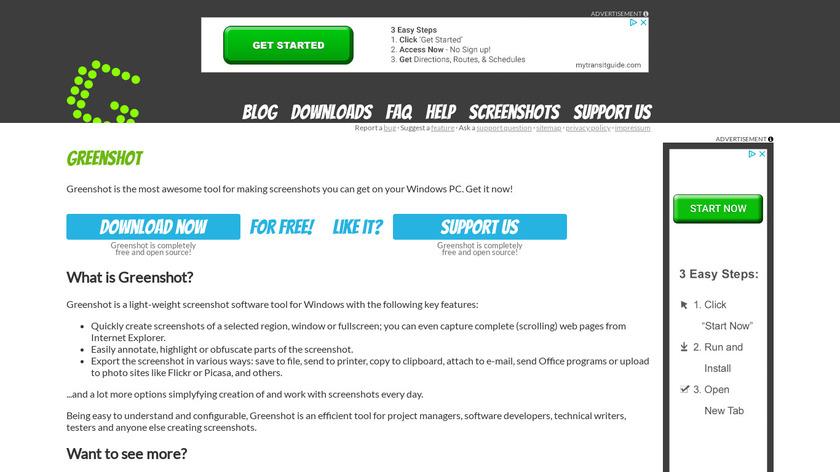 Greenshot Landing Page