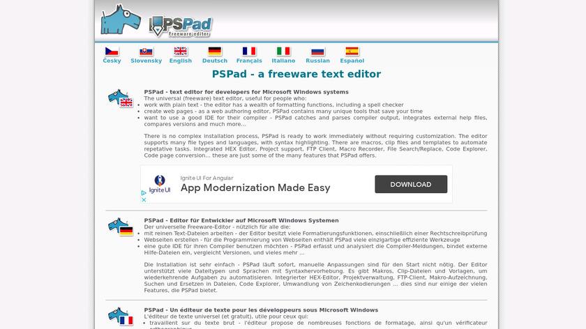 PSPad Landing Page
