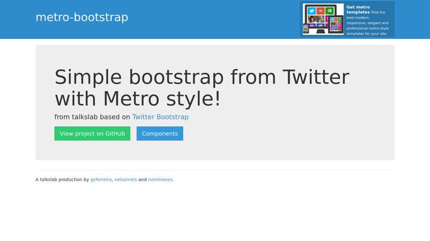 metro-bootstrap Landing Page