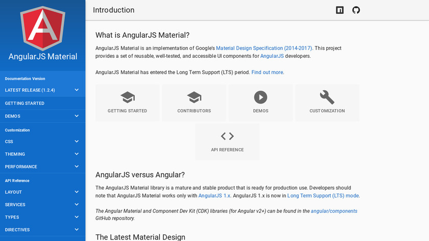 Angular Material Landing Page
